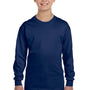 Gildan Youth Long Sleeve Crewneck T-Shirt - Navy Blue