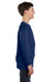 Gildan G540B Youth Long Sleeve Crewneck T-Shirt Navy Blue Side
