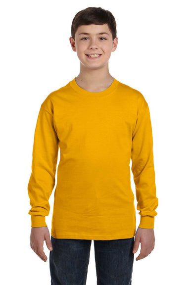 Gildan G540B Youth Long Sleeve Crewneck T-Shirt Gold Front