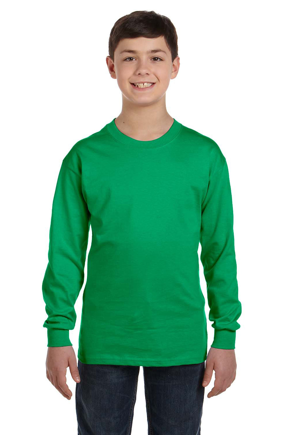 Gildan G540B Youth Long Sleeve Crewneck T-Shirt Irish Green Front