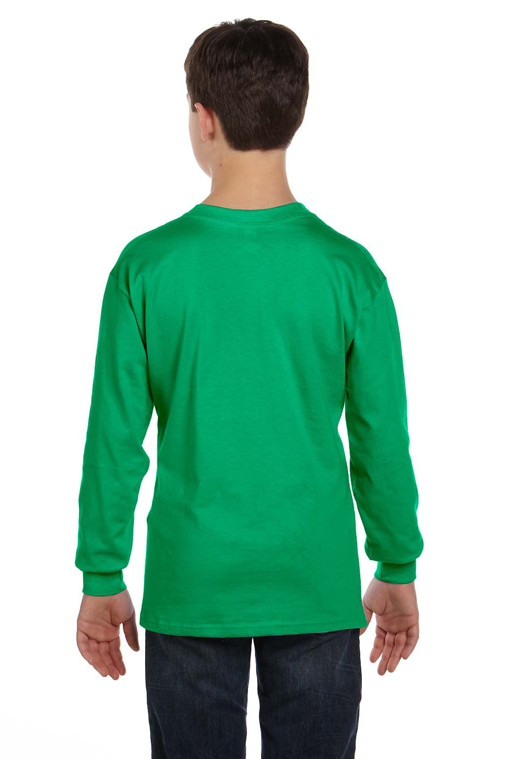 Gildan G540B Youth Long Sleeve Crewneck T-Shirt Irish Green Back