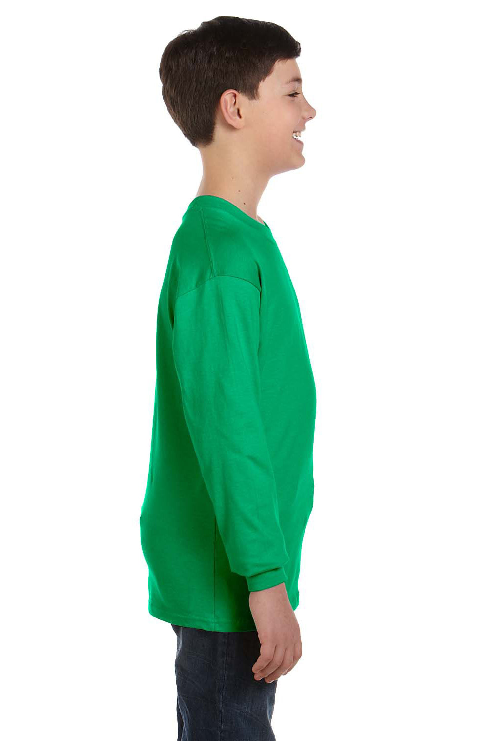 Gildan G540B Youth Long Sleeve Crewneck T-Shirt Irish Green Side