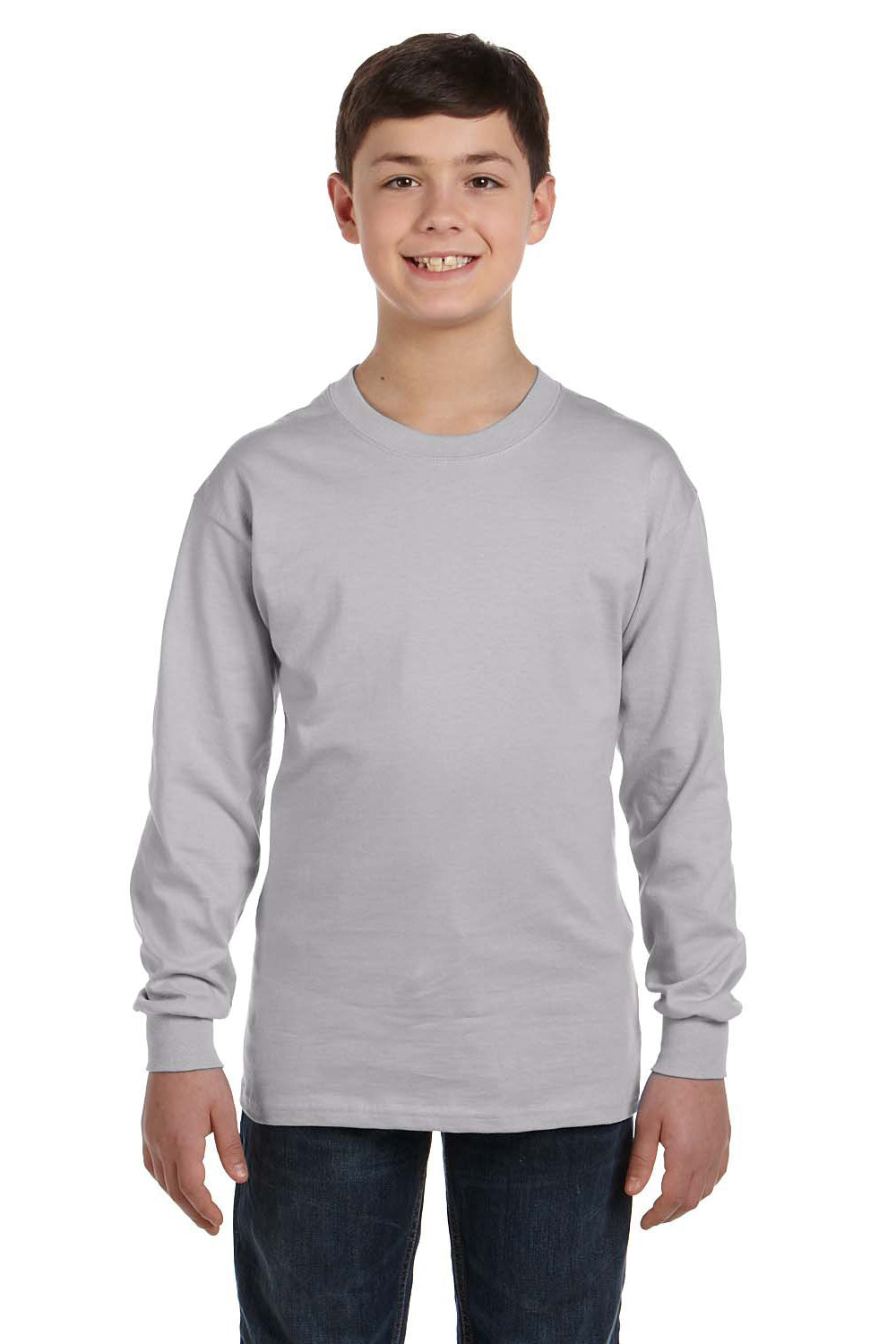 Gildan G540B Youth Long Sleeve Crewneck T-Shirt Sport Grey Front