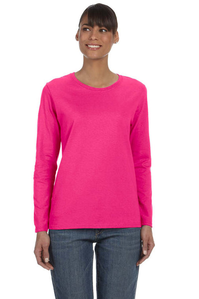 Gildan G540L Womens Long Sleeve Crewneck T-Shirt Heliconia Pink Front