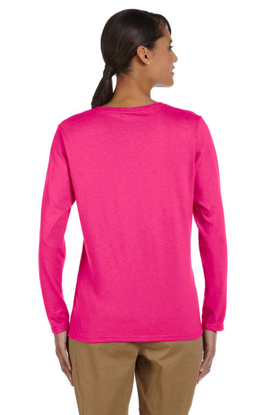 Gildan G540L Womens Long Sleeve Crewneck T-Shirt Heliconia Pink Back
