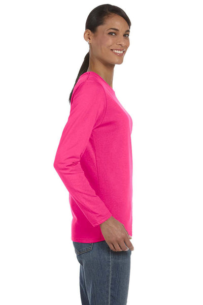 Gildan G540L Womens Long Sleeve Crewneck T-Shirt Heliconia Pink Side