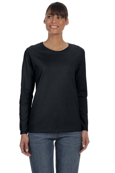 Gildan G540L Womens Long Sleeve Crewneck T-Shirt Black Front