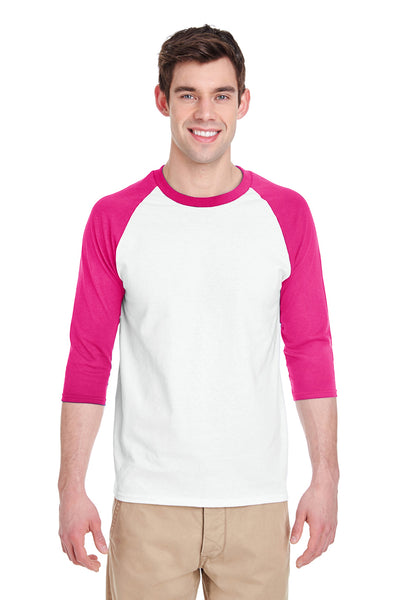 Gildan G570 Mens 3/4 Sleeve Crewneck T-Shirt White/Heliconia Pink Front