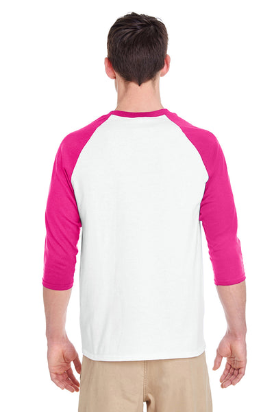 Gildan G570 Mens 3/4 Sleeve Crewneck T-Shirt White/Heliconia Pink Back