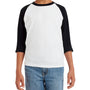 Gildan Youth 3/4 Sleeve Crewneck T-Shirt - White/Black
