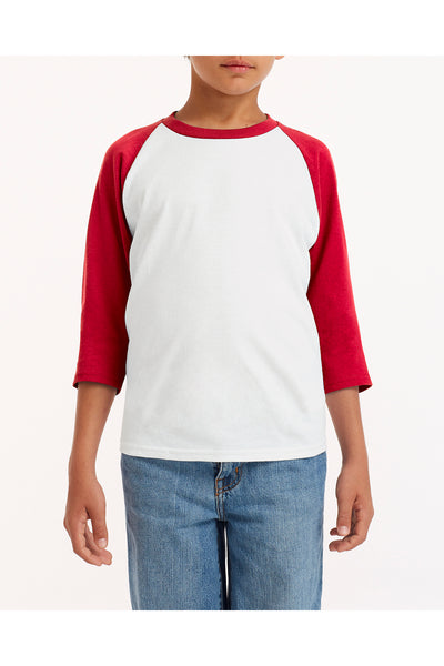 Gildan G570B Youth 3/4 Sleeve Crewneck T-Shirt White/Red Front