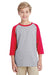 Gildan G570B Youth 3/4 Sleeve Crewneck T-Shirt Grey/Red Front