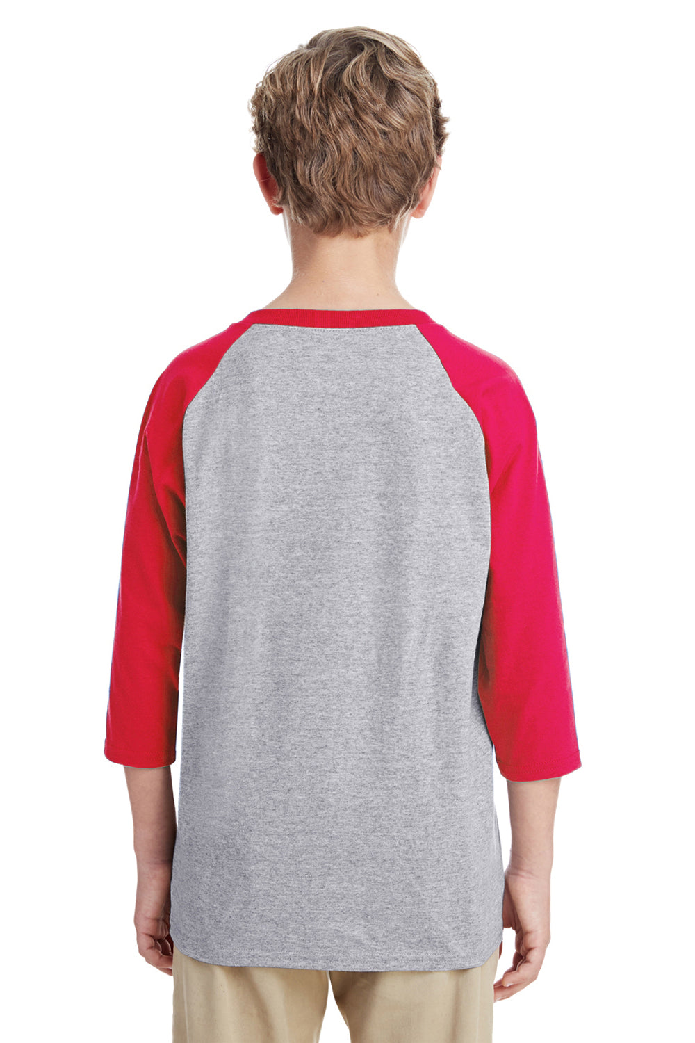 Gildan G570B Youth 3/4 Sleeve Crewneck T-Shirt Grey/Red Back