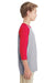 Gildan G570B Youth 3/4 Sleeve Crewneck T-Shirt Grey/Red Side