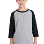 Gildan Youth 3/4 Sleeve Crewneck T-Shirt - Sport Grey/Black