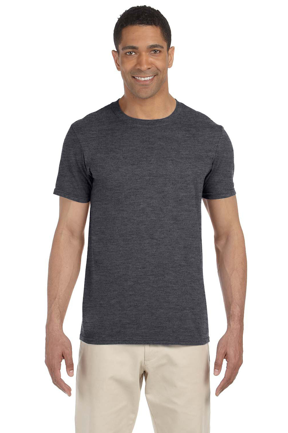 Gildan G640 Mens Softstyle Short Sleeve Crewneck T-Shirt Heather Dark Grey Front