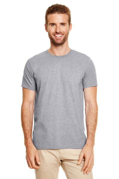 Gildan G640-2 Mens Softstyle Short Sleeve Crewneck T-Shirt Heather Graphite Grey Front