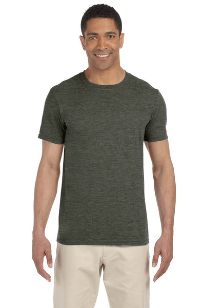Gildan G640-2 Mens Softstyle Short Sleeve Crewneck T-Shirt Heather Military Green Front