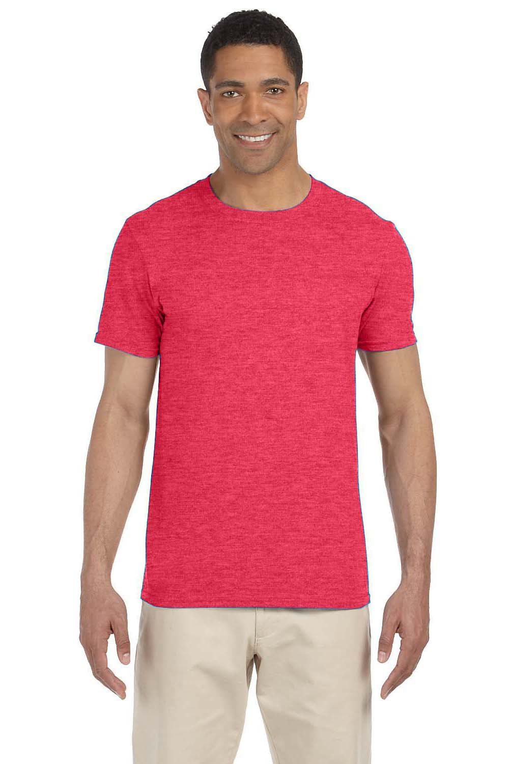 Gildan G640 Mens Softstyle Short Sleeve Crewneck T-Shirt Heather Red Front