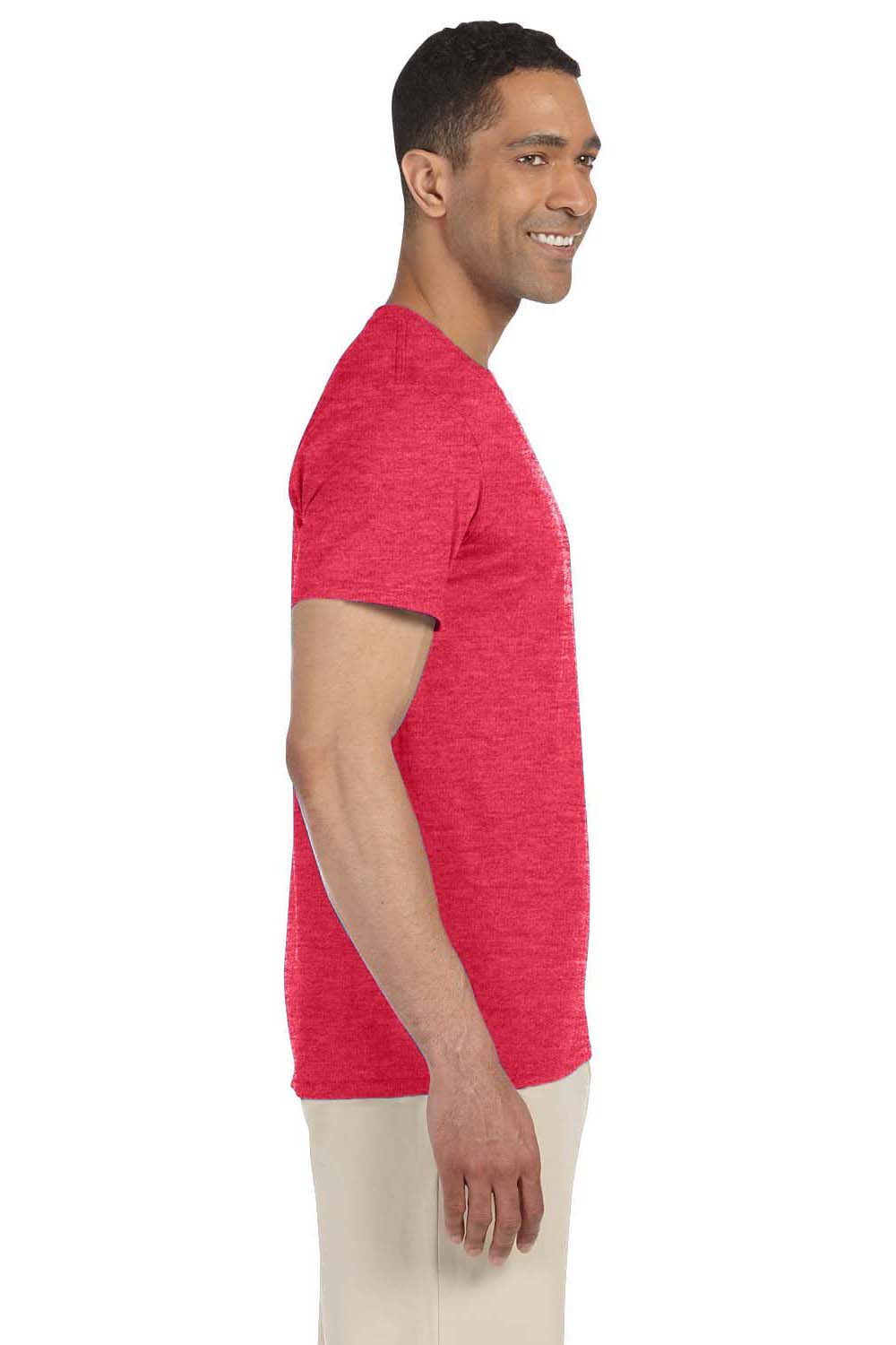 Gildan G640 Mens Softstyle Short Sleeve Crewneck T-Shirt Heather Red Side