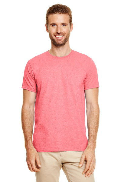 Gildan G640-2 Mens Softstyle Short Sleeve Crewneck T-Shirt Heather Coral Silk Pink Front