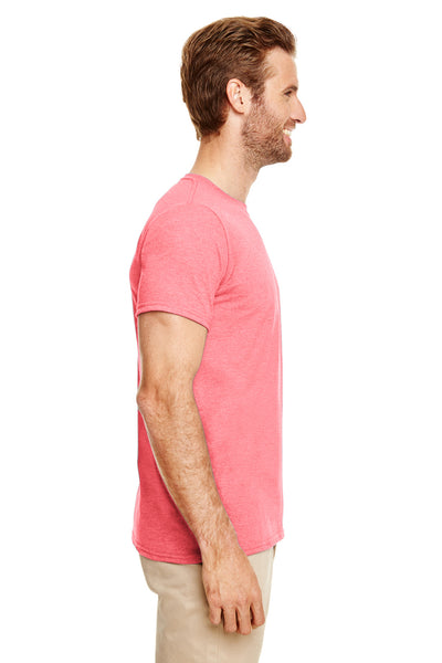 Gildan G640-2 Mens Softstyle Short Sleeve Crewneck T-Shirt Heather Coral Silk Pink Side