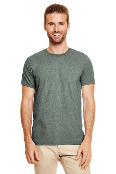 Gildan G640 Mens Softstyle Short Sleeve Crewneck T-Shirt Heather Forest Green Front