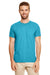 Gildan G640 Mens Softstyle Short Sleeve Crewneck T-Shirt Heather Galapagos Blue Front