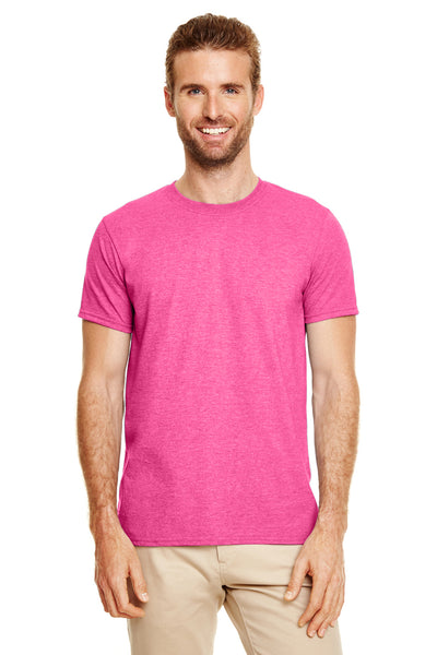 Gildan G640-2 Mens Softstyle Short Sleeve Crewneck T-Shirt Heather Heliconia Pink Front