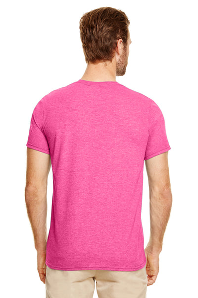 Gildan G640-2 Mens Softstyle Short Sleeve Crewneck T-Shirt Heather Heliconia Pink Back