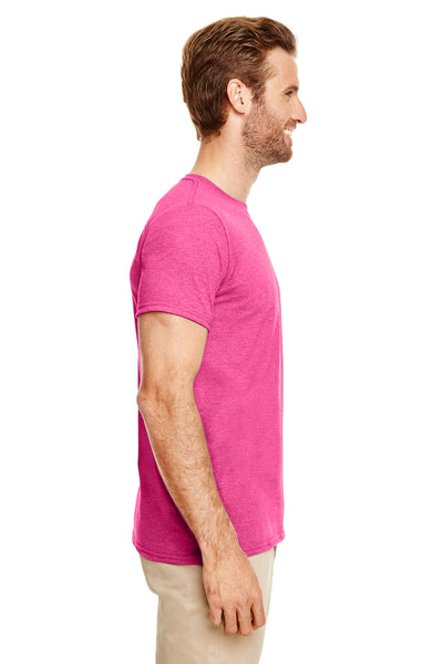 Gildan G640-2 Mens Softstyle Short Sleeve Crewneck T-Shirt Heather Heliconia Pink Side