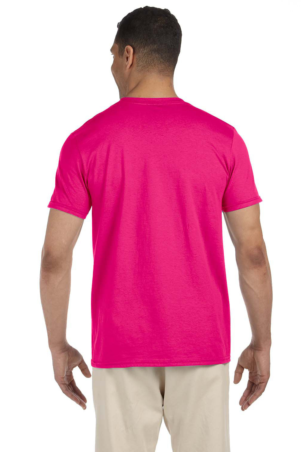 Gildan G640 Mens Softstyle Short Sleeve Crewneck T-Shirt Antique Heliconia Pink Back