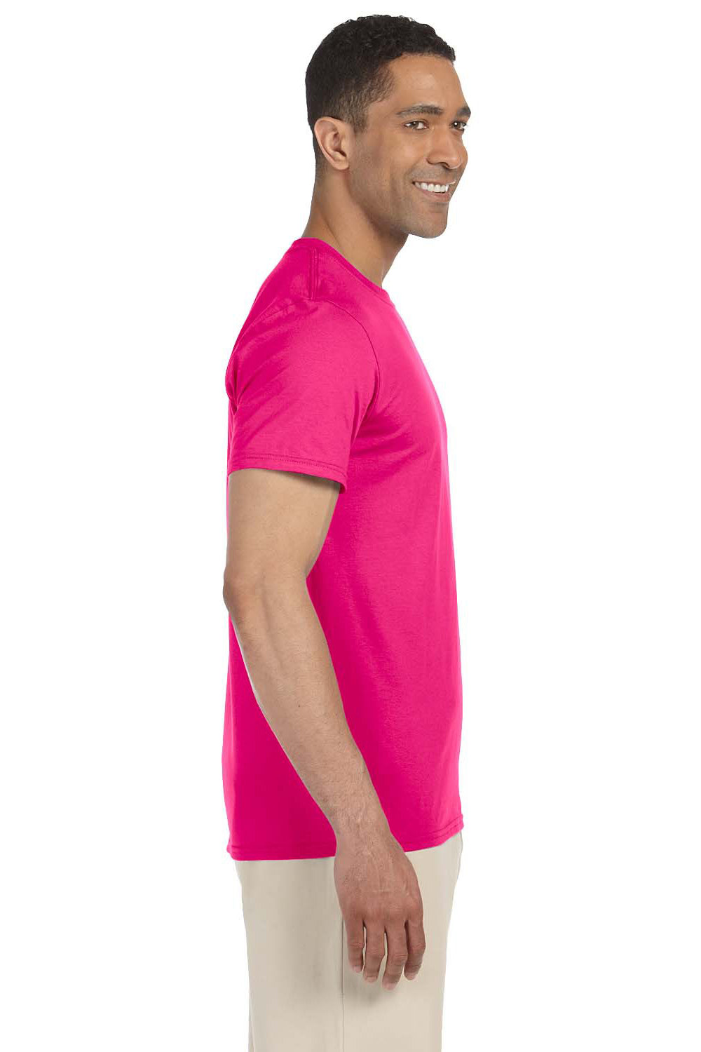 Gildan G640 Mens Softstyle Short Sleeve Crewneck T-Shirt Antique Heliconia Pink Side