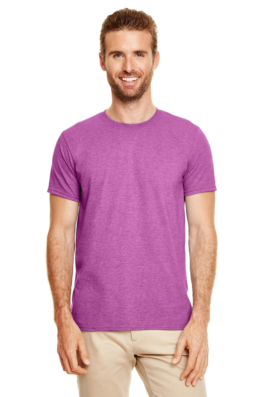 Gildan G640 Mens Softstyle Short Sleeve Crewneck T-Shirt Heather Orchid Purple Front