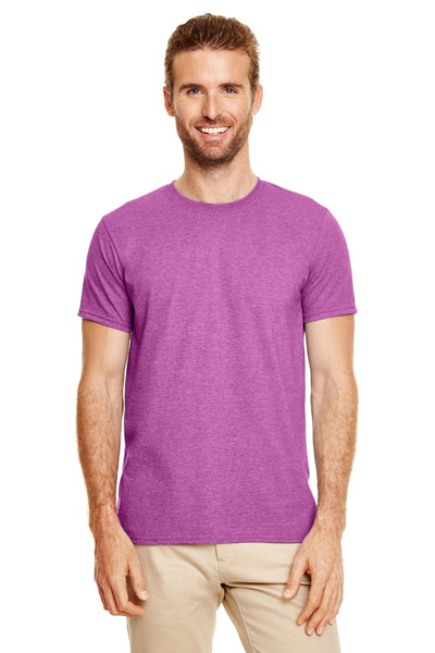 Gildan G640-2 Mens Softstyle Short Sleeve Crewneck T-Shirt Heather Orchid Purple Front