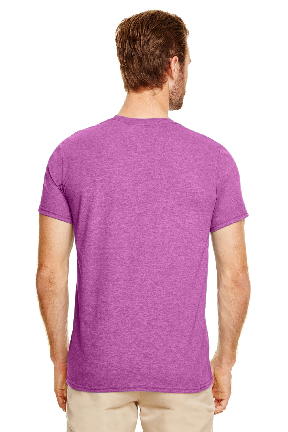 Gildan G640 Mens Softstyle Short Sleeve Crewneck T-Shirt Heather Orchid Purple Back