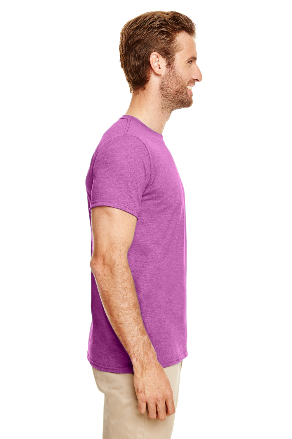 Gildan G640 Mens Softstyle Short Sleeve Crewneck T-Shirt Heather Orchid Purple Side