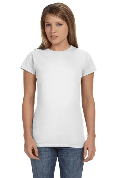 Gildan G640L Womens Softstyle Short Sleeve Crewneck T-Shirt White Front