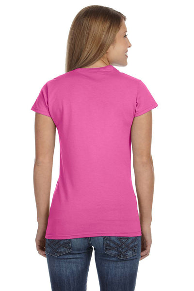 Gildan G640L Womens Softstyle Short Sleeve Crewneck T-Shirt Azalea Pink Back