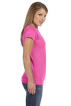 Gildan G640L Womens Softstyle Short Sleeve Crewneck T-Shirt Azalea Pink Side