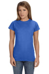 Gildan G640L Womens Softstyle Short Sleeve Crewneck T-Shirt Heather Royal Blue Front
