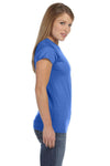 Gildan G640L Womens Softstyle Short Sleeve Crewneck T-Shirt Heather Royal Blue Side