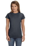 Gildan G640L Womens Softstyle Short Sleeve Crewneck T-Shirt Charcoal Grey Front