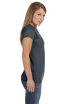 Gildan G640L Womens Softstyle Short Sleeve Crewneck T-Shirt Charcoal Grey Side