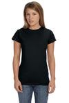Gildan G640L Womens Softstyle Short Sleeve Crewneck T-Shirt Black Front