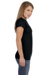 Gildan G640L Womens Softstyle Short Sleeve Crewneck T-Shirt Black Side