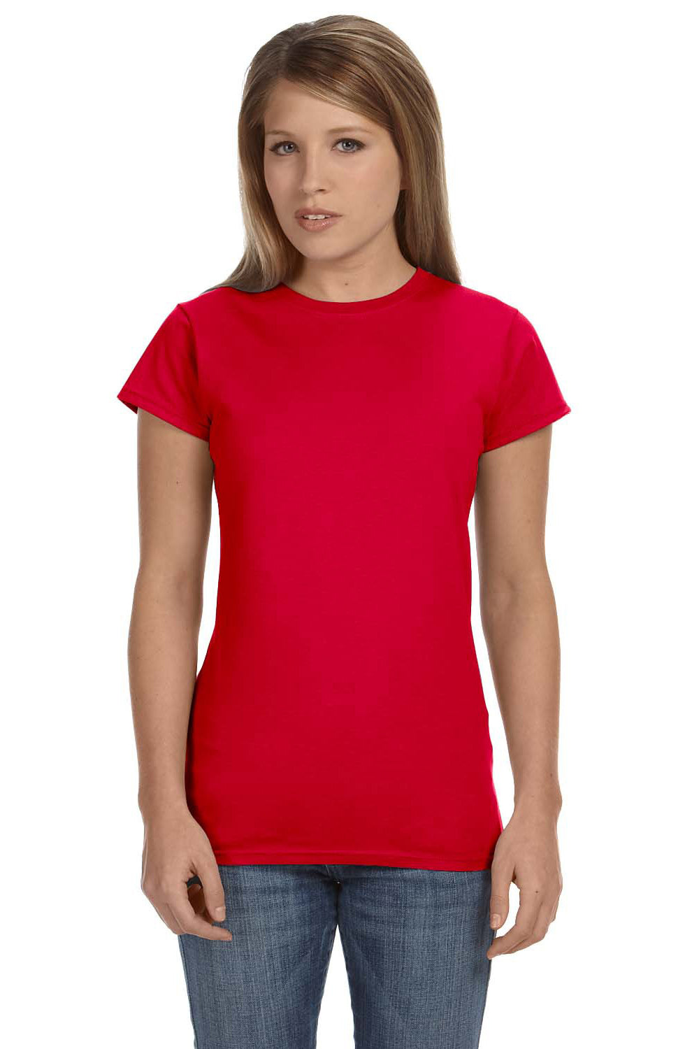 Gildan G640L Womens Softstyle Short Sleeve Crewneck T-Shirt Red Front