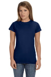 Gildan G640L Womens Softstyle Short Sleeve Crewneck T-Shirt Navy Blue Front