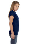Gildan G640L Womens Softstyle Short Sleeve Crewneck T-Shirt Navy Blue Side