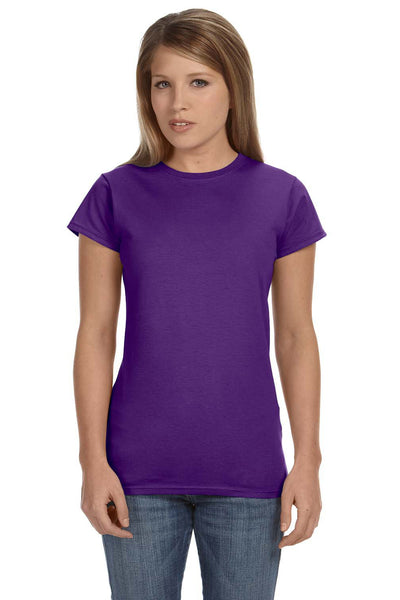 Gildan G640L Womens Softstyle Short Sleeve Crewneck T-Shirt Purple Front